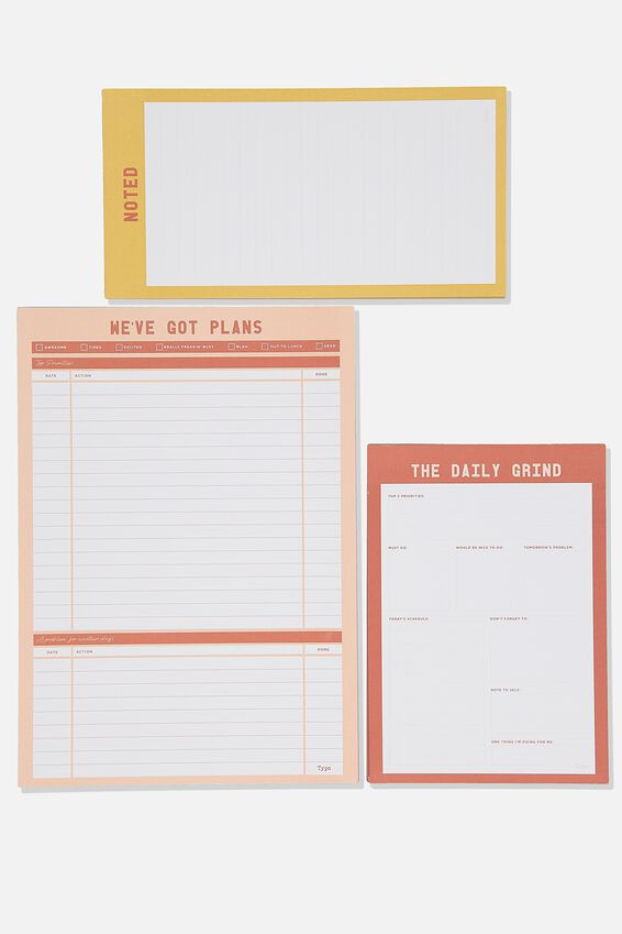 Notepad 3Pk, PINK AND YELLOW