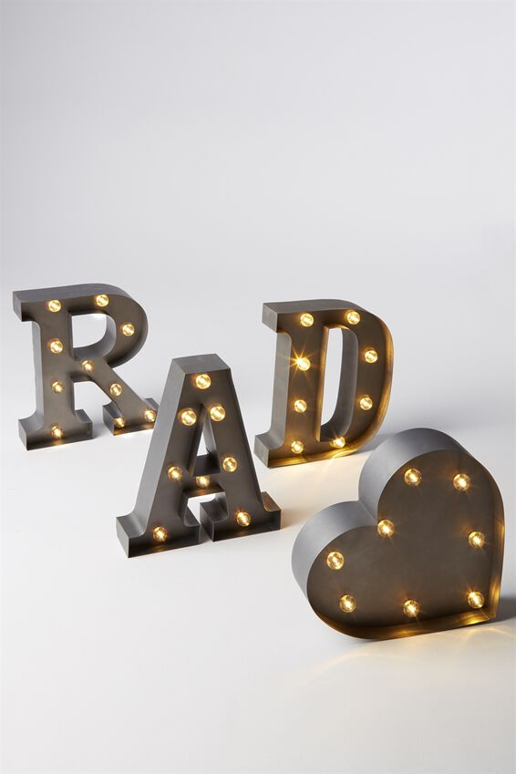 Small Marquee Letter Lights 23cm, SILVER W