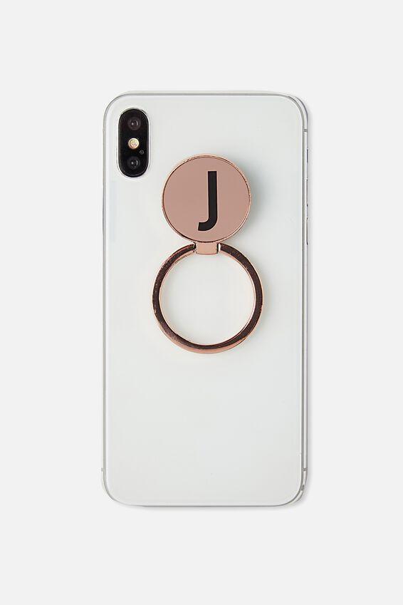Metal Alpha Phone Ring, ROSE GOLD J