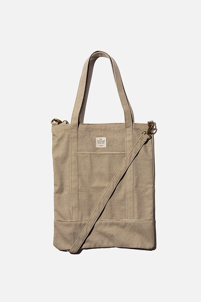 Book Tote Bag, PINSTRIPE KHAKI