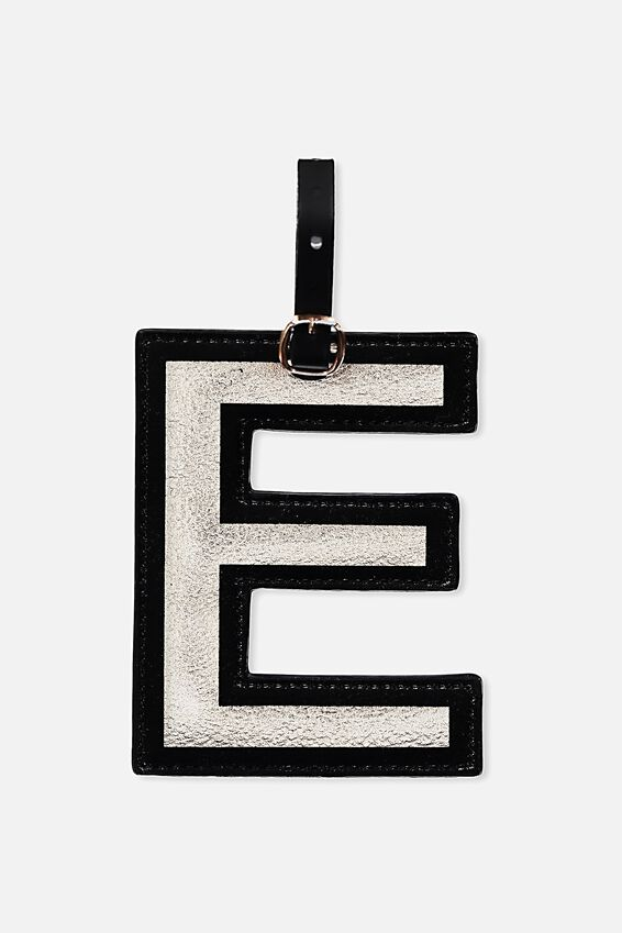 Shaped Alphabet Luggage Tag, E