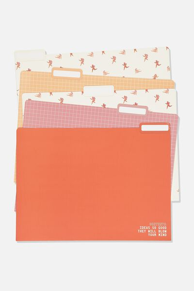 Manila Folders 5Pk, PINK AND YELLOW