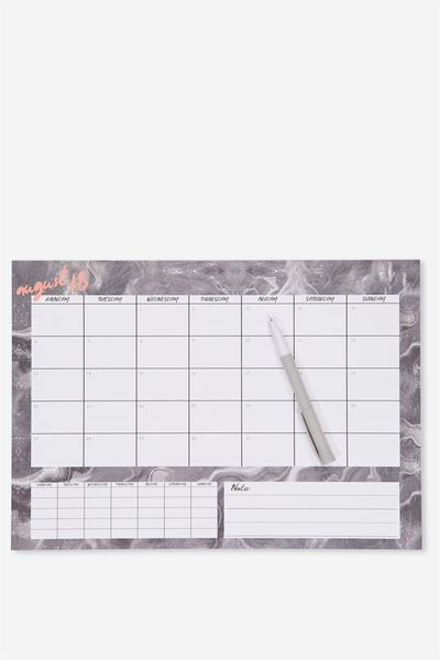 2018 19 A3 Plan Ahead Planner, DARK GREY MARBLE