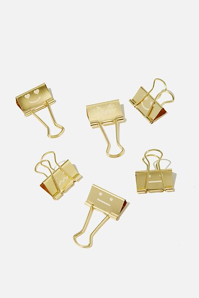 Bulldog Clip Pk 6, GOLD FACES