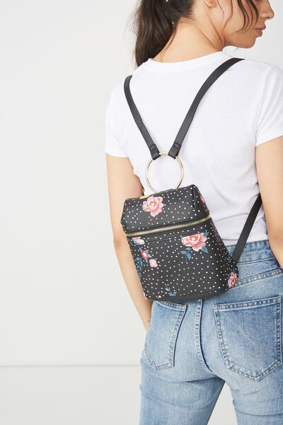 Micro Backpack, BLACK DOTTY FLORAL