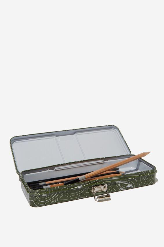 Tin Pencil Case, LINEAR MAP GREEN TIN
