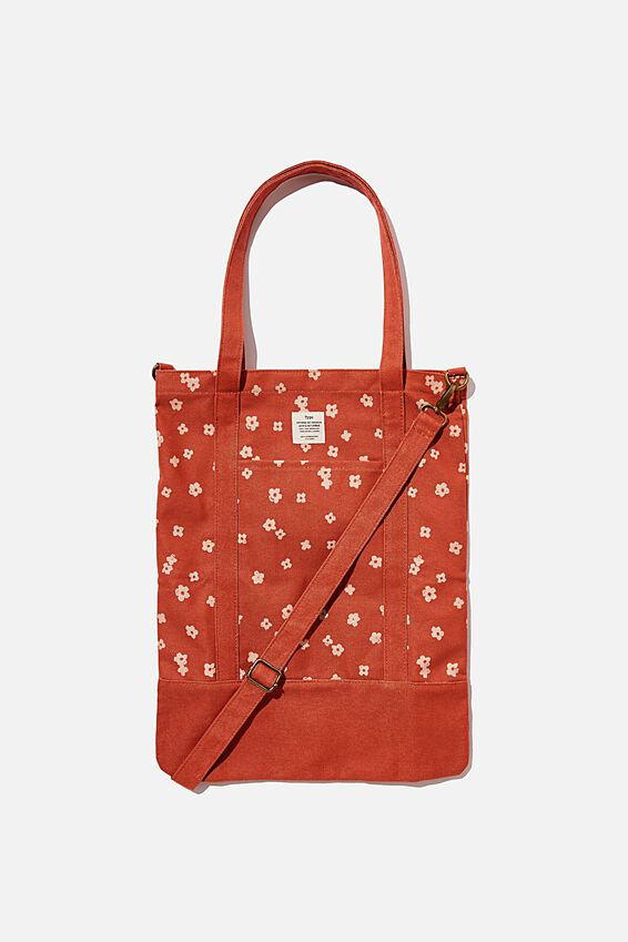 Book Tote Bag, CHARLIE FLORAL RUST