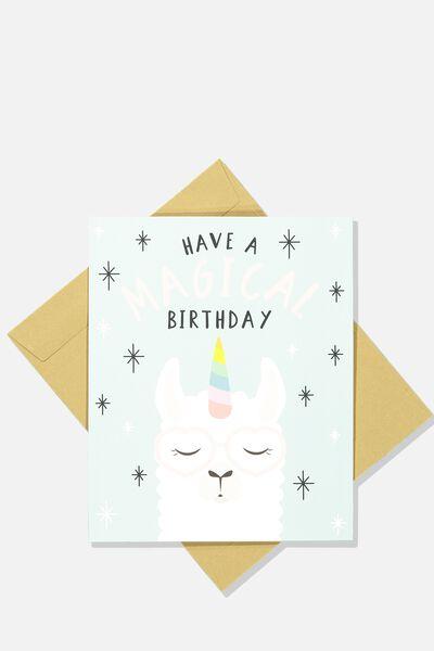 Nice Birthday Card MAGICAL BIRTHDAY LLAMA