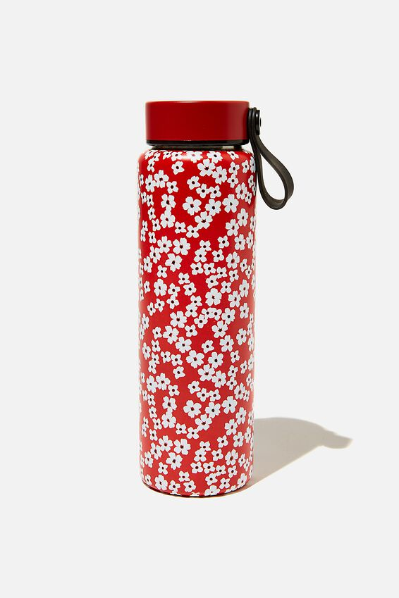 On The Move Metal Drink Bottle 500Ml, TRUE RED CHERRY BLOSSOM