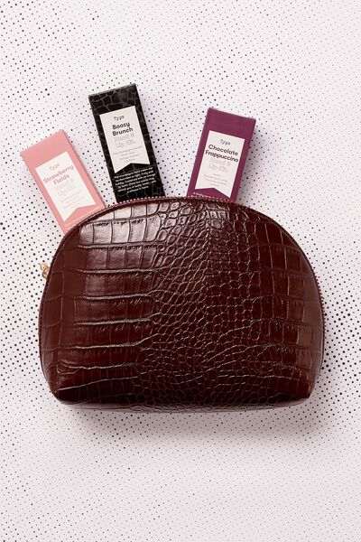 Shell Cosmetic Case, BURGUNDY CROC EMBOSSED