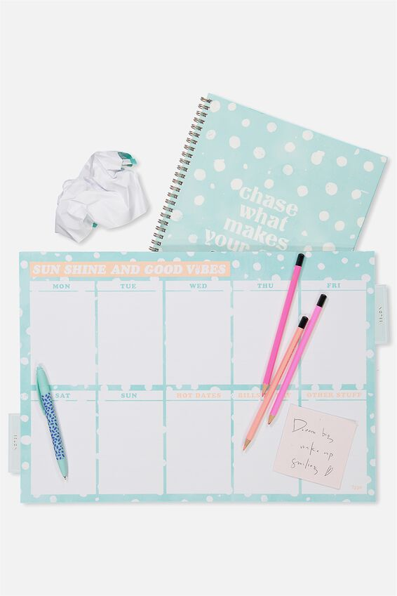 A3 Extra Large Plan Ahead Planner, BLUE POLKA GOOD VIBES