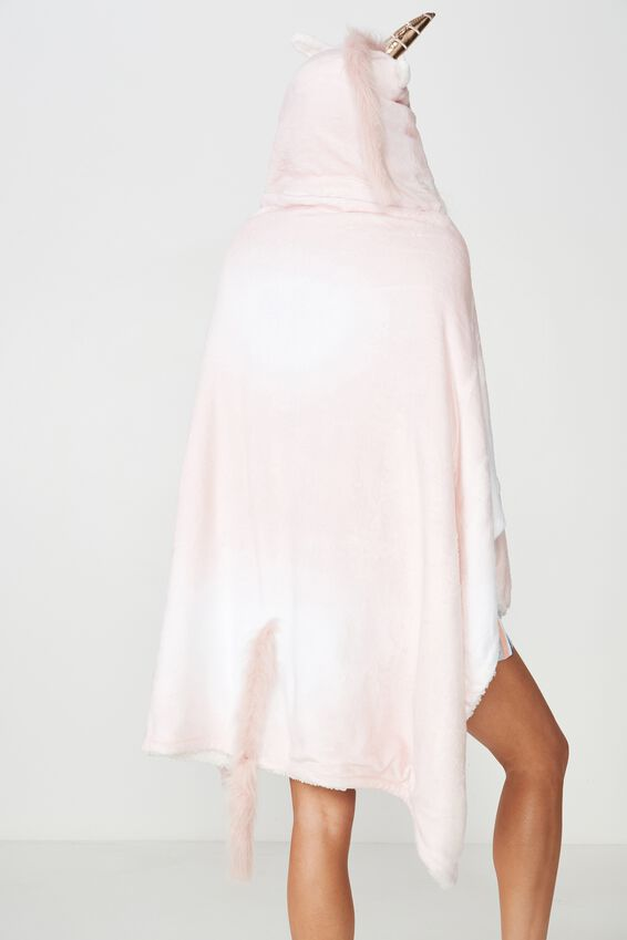 Premium Novelty Hooded Blanket, LIT UP MUDDLED UNICORN