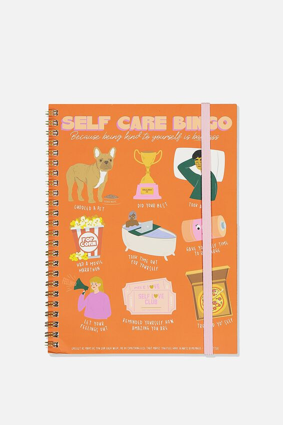 A5 Spinout Notebook Recycled, SELF CARE BINGO