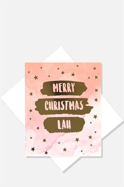 2018 Christmas Card, MERRY CHRISTMAS LAH/ RED WATERCOLOUR