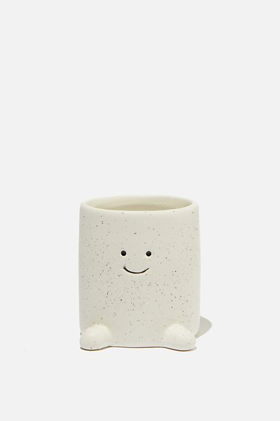 Tiny Shaped Planter, WHITE HAPPY