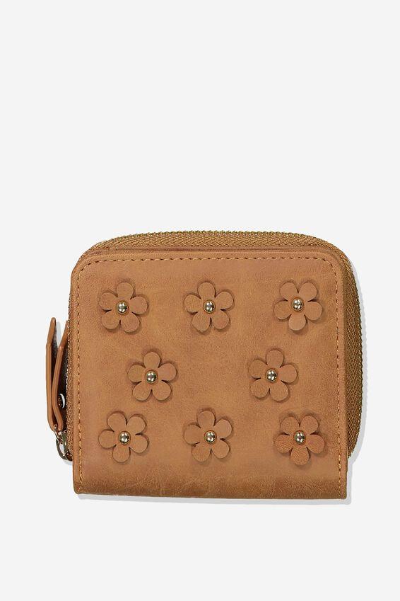Mini Wallet, MID TAN APPLIQUE