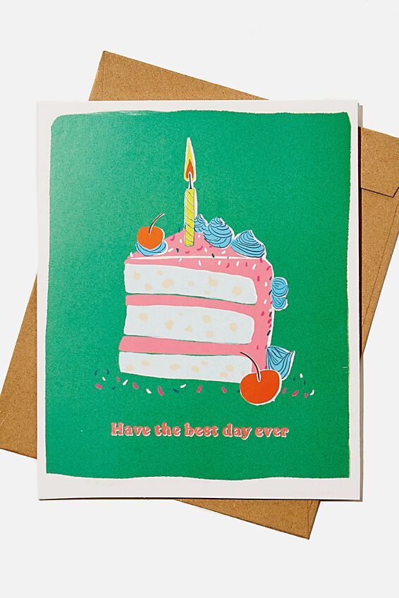 Nice Birthday Card, BEST DAY EVER CAKE RISO