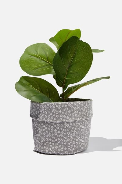 Canvas Planters, STAMP DAISY GREY SCALE