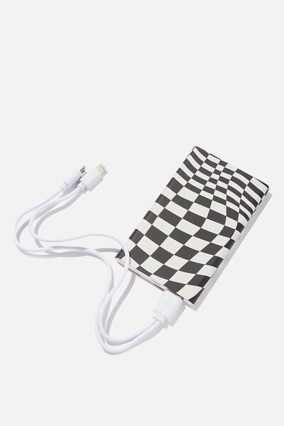 Printed Charge It Charger, WARP CHECKERBOARD BLACK