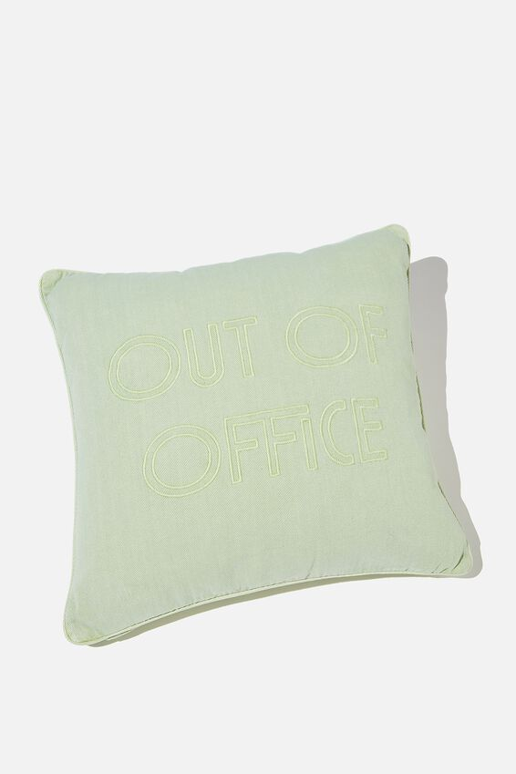 Square Cushion, ALLY GREEN OUT OF OFFICE