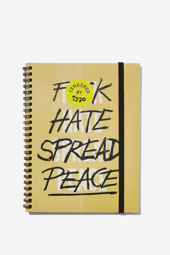 Small Spinout Notebook, F HATE SPREAD PEACE!!