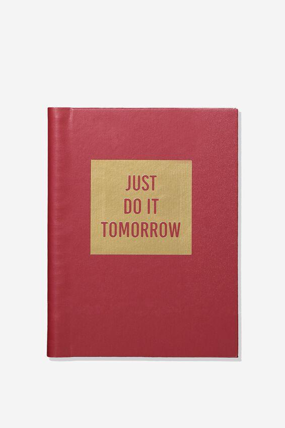 A5 Hidden Spiral Notebook, BURGUNDY JUST DO IT