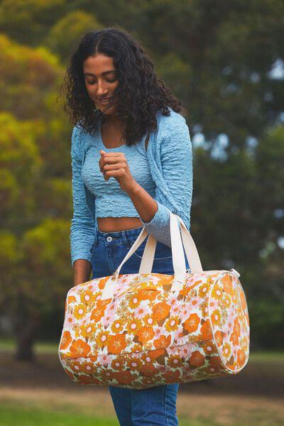 Canvas Barrel Bag, ORANGE AND PINK STEVIE FLORAL