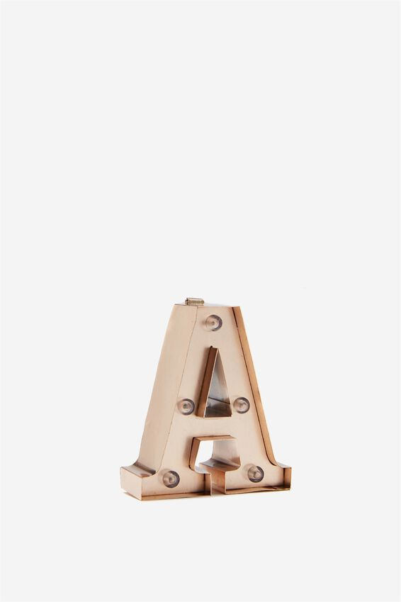 Mini Marquee Letter Lights 10cm, ROSE GOLD A
