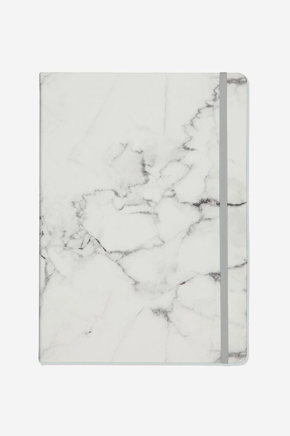 "A4 Blank Buffalo Journal (8.2"" x 11.6""), WHITE MARBLE"