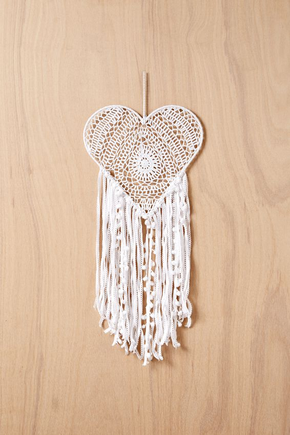 Large Dream Catcher, WHITE HEART LACE