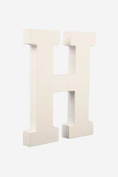 Letterpress Wooden Letter, WHITE H