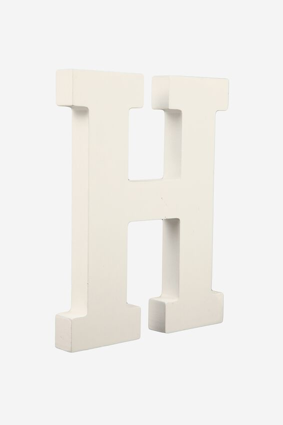 Letterpress Wooden Letter, WHITE H
