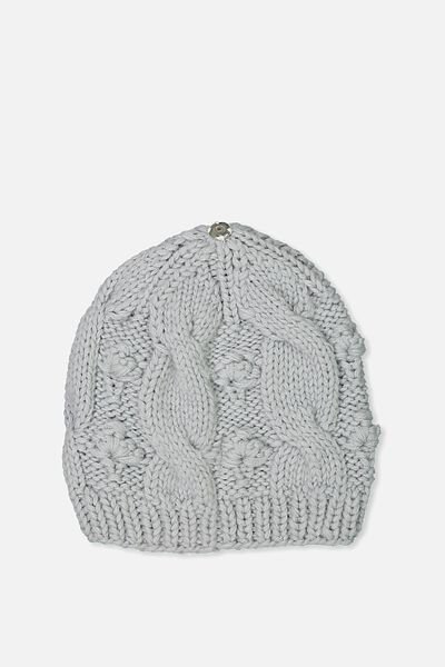 Personalised Beanie, GREY CABLE KNIT