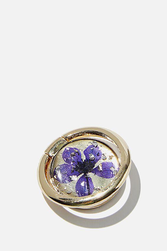 Metal Phone Ring, BLUE FLOWER FOIL