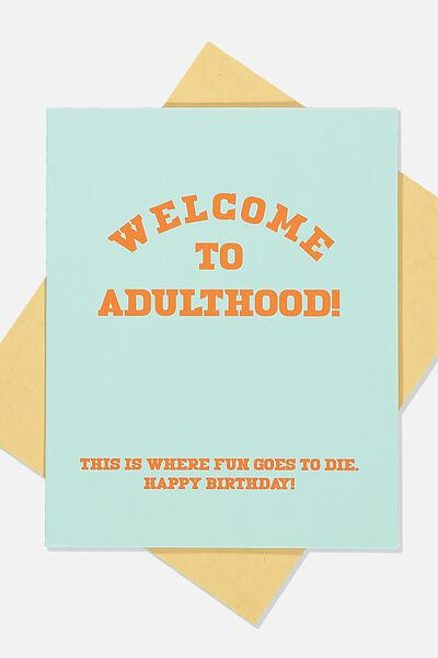 Funny Birthday Card, FUN GOES TO DIE