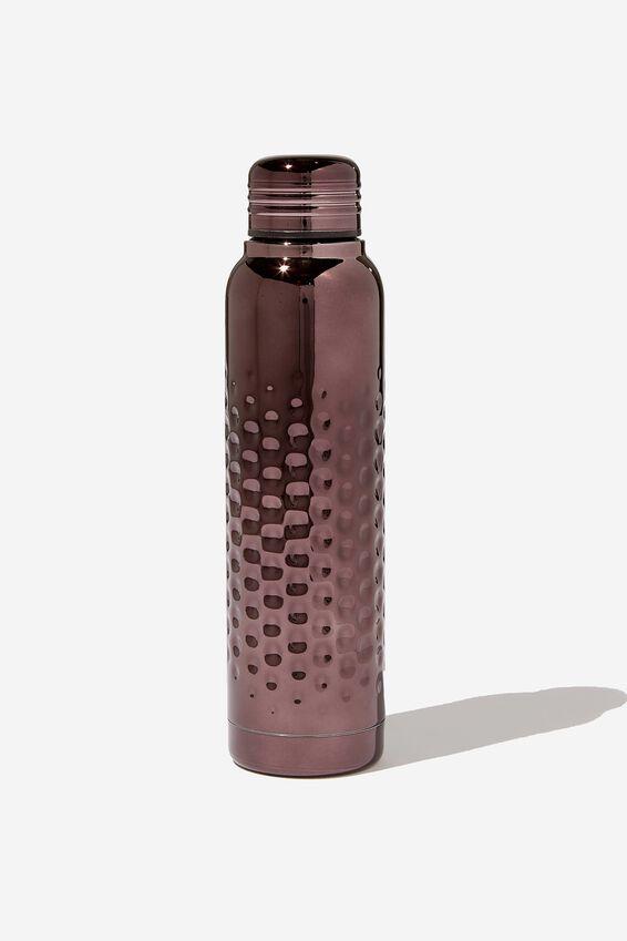 Premium Small Metal Drink Bottle, HAMMERED BLACK