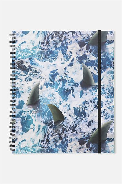 College Ruled Spinout Notebook V, SHARK WEEK WAVES