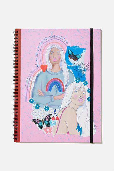 A4 Spinout Notebook Recycled, GIRLS PINK BLUE COLLAGE