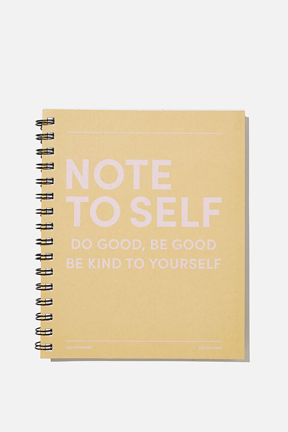 A5 Campus Notebook Recycled, NOTE TO SELF WASHED MUSTARD