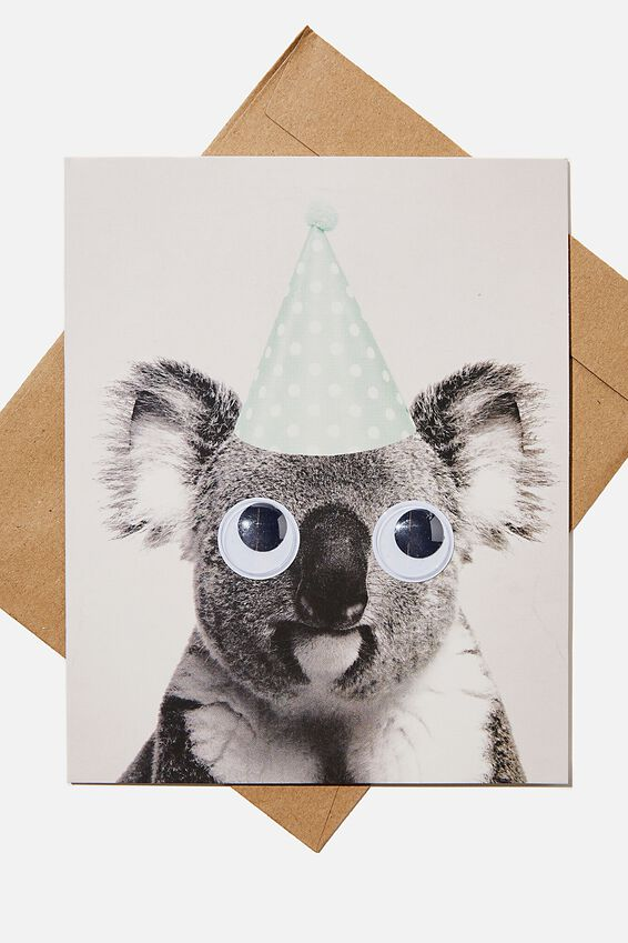Premium Funny Birthday Card, KOALA PARTY HAT GOOGLY EYES