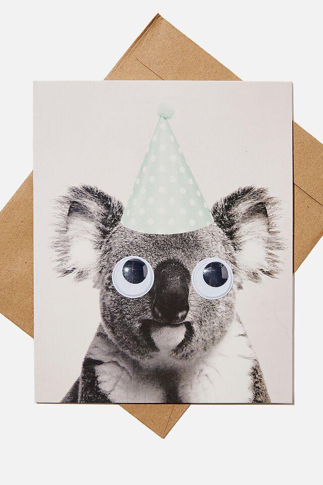 Premium Funny Birthday Card, KOALA PARTY HAT GOOGLY EYES