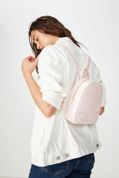 Mini Arch Backpack, BLUSH EMBROIDERY