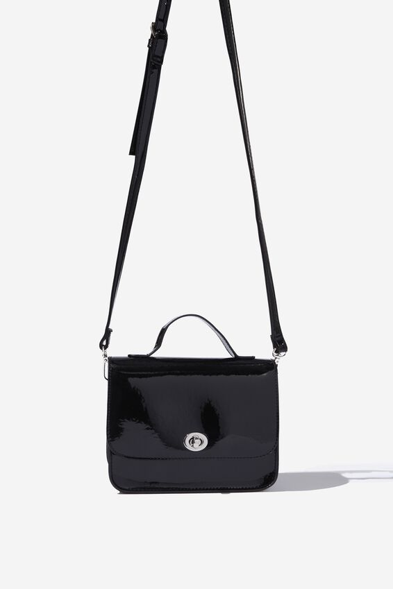 Mini Turnlock Satchel Bag, PATENT BLACK