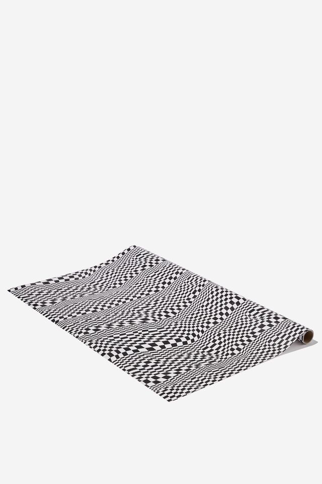 Wrapping Paper Roll, CHECKERBOARD BLACK WHITE