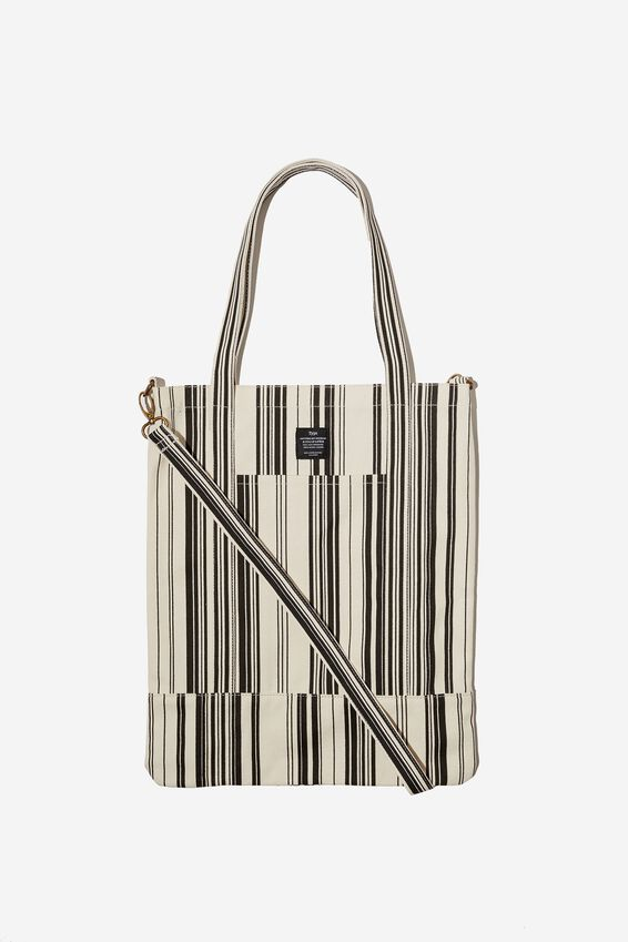 Book Tote Bag, VARIEGATED STRIPE BLACK AND WHITE