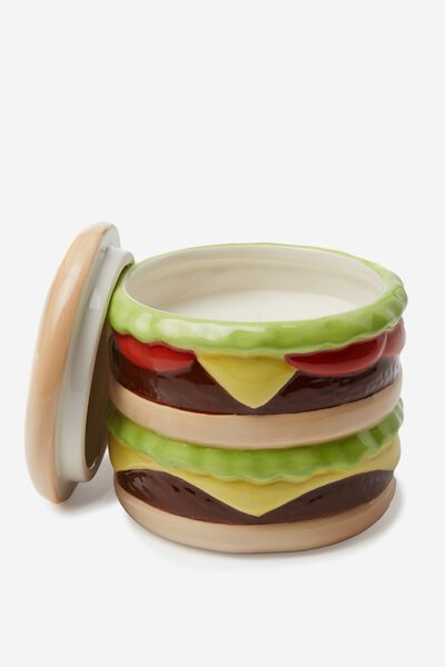 Large Ceramic Shaped Candle, BURGER