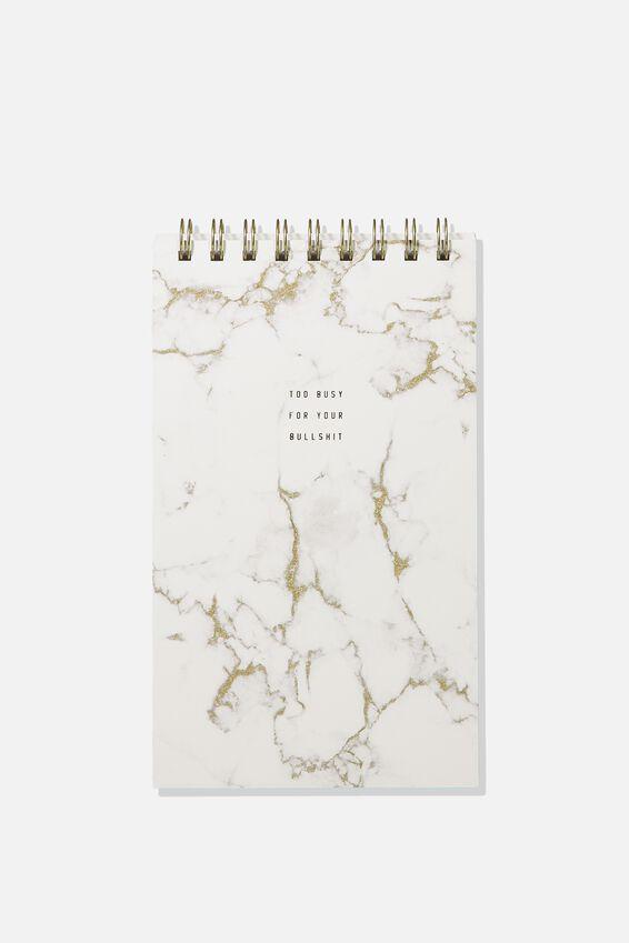 Flipout Notepad, WHITE MARBLE BULLSHIT!