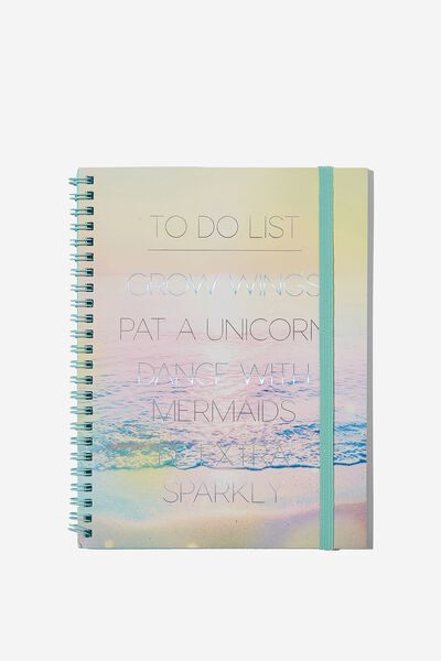 A5 Spinout Notebook - 120 Pages, TO DO LIST UNICORN SUNSET
