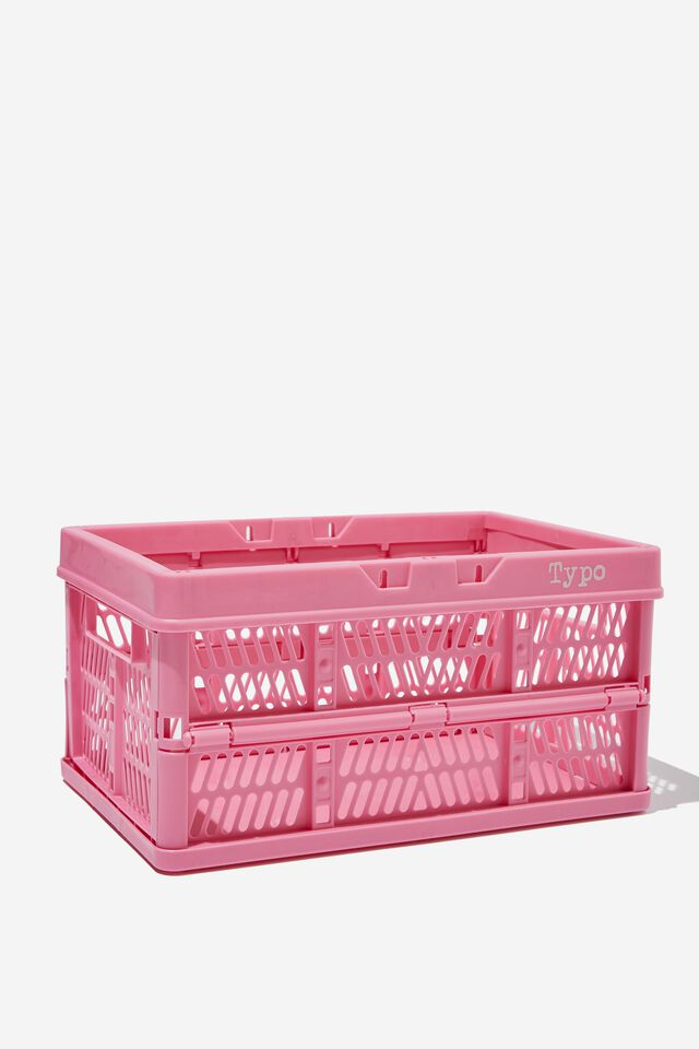 Small Foldable Storage Crate, PINK GUAVA