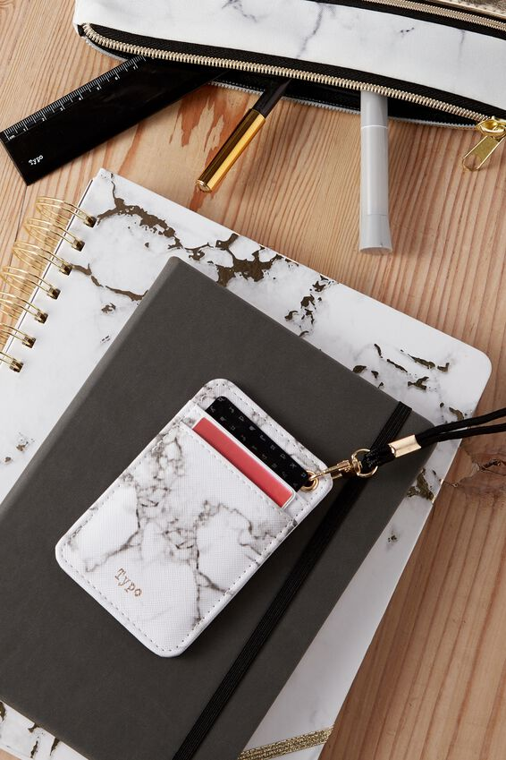 Printed Card Holder, WHITE MARBLE